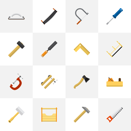 Set Of 16 Editable Instrument Icons. Includes Symbols Such As Instruments, Nag, Emery Paper And More. Can Be Used For Web, Mobile, UI And Infographic Design. Illustration