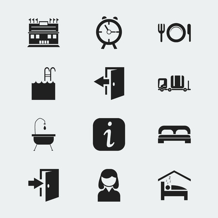 tour operator: Set Of 12 Editable Motel Icons. Includes Symbols Such As Alarm, Outlet, Female And More. Can Be Used For Web, Mobile, UI And Infographic Design.