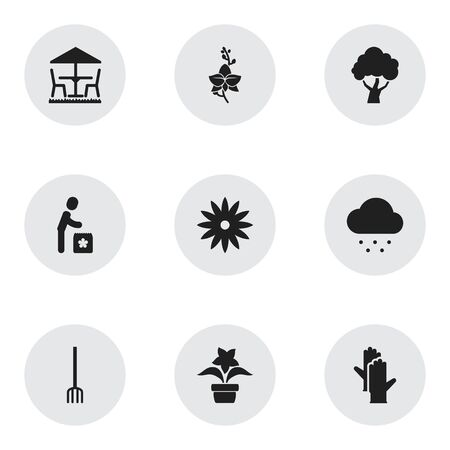 aster: Set Of 9 Editable Agriculture Icons. Includes Symbols Such As Plant Pot, Working Gloves, Garden Seat And More. Can Be Used For Web, Mobile, UI And Infographic Design. Illustration