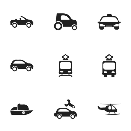 hatchback: Set Of 9 Editable Transportation Icons. Includes Symbols Such As Tramcar, Vessel, Hatchback And More. Can Be Used For Web, Mobile, UI And Infographic Design.