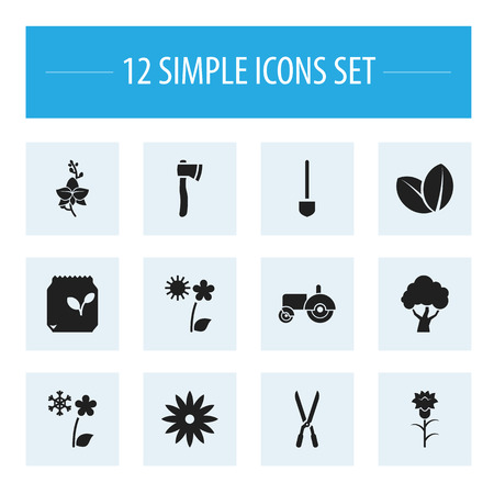 aster: Set Of 12 Editable Agriculture Icons. Includes Symbols Such As South, Frosts, Grains And More. Can Be Used For Web, Mobile, UI And Infographic Design.