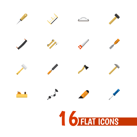 Set Of 16 Editable Tools Icons. Includes Symbols Such As Clamp, Jointer, Nag And More. Can Be Used For Web, Mobile, UI And Infographic Design. Illustration