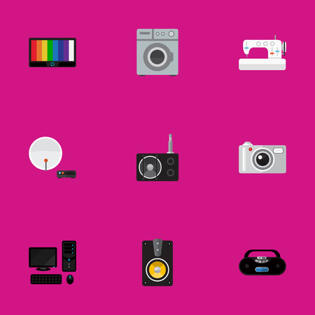Set Of 9 Editable Technology Icons. Includes Symbols Such As Camera, Personal Computer, Antenna And More. Can Be Used For Web, Mobile, UI And Infographic Design.