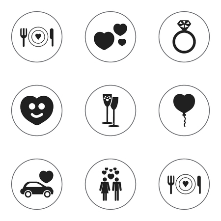 Set Of 9 Editable Love Icons. Includes Symbols Such As Car, Valentine Balloons, Celebration And More. Can Be Used For Web, Mobile, UI And Infographic Design. 向量圖像