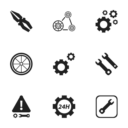 bolt: Set Of 9 Editable Toolkit Icons. Includes Symbols Such As Caution, Cogwheels, Mechanic Cogs And More. Can Be Used For Web, Mobile, UI And Infographic Design.