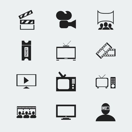 Set Of 12 Editable Movie Icons. Includes Symbols Such As Movie Reel, Hd Television, Coupon And More. Can Be Used For Web, Mobile, UI And Infographic Design. Ilustração