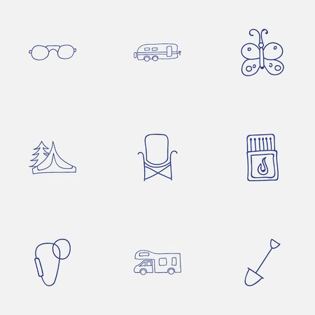 karabiner: Set Of 9 Editable Camping Icons. Includes Symbols Such As Carabine, Camper, Seat And More. Can Be Used For Web, Mobile, UI And Infographic Design.