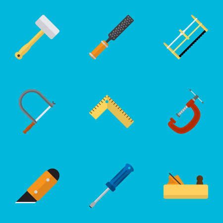 exchanger: Set Of 9 Editable Equipment Icons. Includes Symbols Such As Hacksaw, Handsaw, Turn-Screw. Can Be Used For Web, Mobile, UI And Infographic Design.