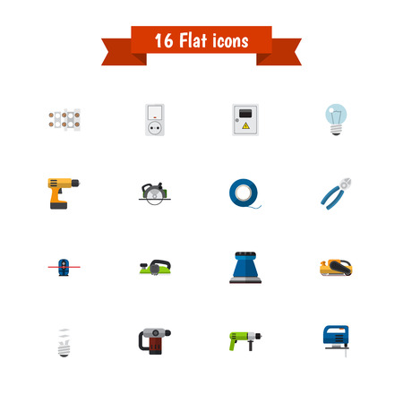 electric material: Set Of 16 Editable Instruments Icons. Includes Symbols Such As Buzzsaw, Borer, Bulb And More. Can Be Used For Web, Mobile, UI And Infographic Design.