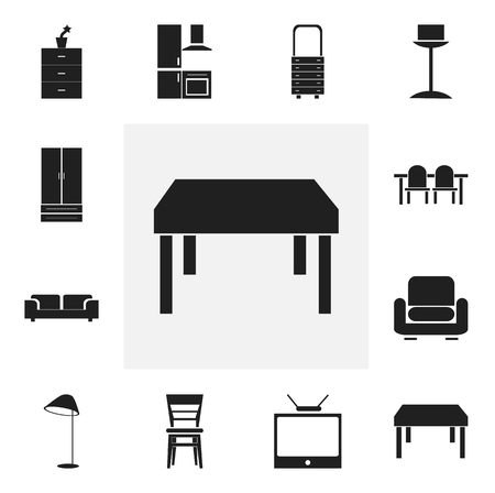 hdtv: Set Of 12 Editable Furniture Icons. Includes Symbols Such As Recliner, Cupboard, Enlightenment And More. Can Be Used For Web, Mobile, UI And Infographic Design. Illustration