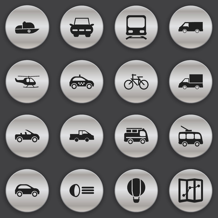 luminary: Set Of 16 Editable Shipment Icons. Includes Symbols Such As Travel Pickup, Camion, Luminary And More. Can Be Used For Web, Mobile, UI And Infographic Design. Illustration