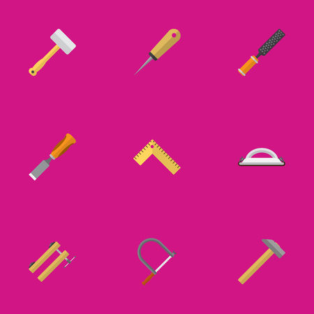 Set Of 9 Editable Tools Icons. Includes Symbols Such As Bodkin, Clamp, Hammer And More. Can Be Used For Web, Mobile, UI And Infographic Design. Illustration