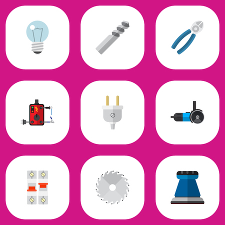 Set Of 9 Editable Electric Icons. Includes Symbols Such As Bulb, Emery Paper, Breaker And More. Can Be Used For Web, Mobile, UI And Infographic Design. Illustration