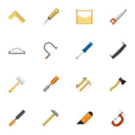Set Of 16 Editable Equipment Icons. Includes Symbols Such As Meter, Clamp, Instruments And More. Can Be Used For Web, Mobile, UI And Infographic Design.