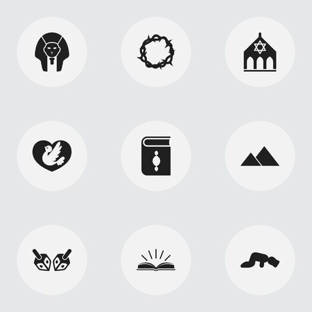 persuasion: Set Of 9 Editable Religion Icons. Includes Symbols Such As Sarcophagus, Scripture, Giza And More. Can Be Used For Web, Mobile, UI And Infographic Design.