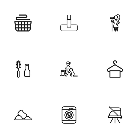 suspender: Set Of 9 Editable Cleanup Icons. Includes Symbols Such As Washer Machine, Suspender, Tools And More. Can Be Used For Web, Mobile, UI And Infographic Design. Illustration