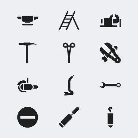 Set Of 12 Editable Instrument Icons. Includes Symbols Such As Minus, Blacksmith, Pickaxes And More. Can Be Used For Web, Mobile, UI And Infographic Design.