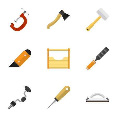 Set Of 9 Editable Tools Icons. Includes Symbols Such As Boer, Tool, Clinch And More. Can Be Used For Web, Mobile, UI And Infographic Design.
