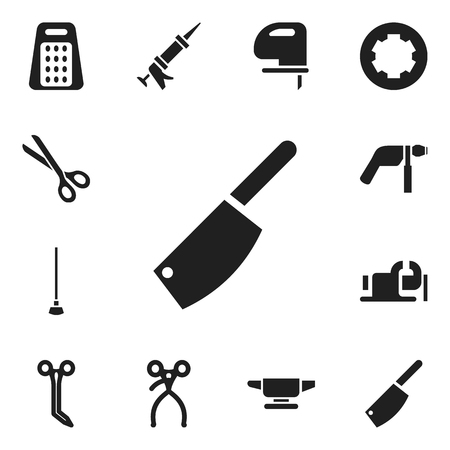 caulk: Set Of 12 Editable Apparatus Icons. Includes Symbols Such As Saw, Equipment, Sealant And More. Can Be Used For Web, Mobile, UI And Infographic Design.