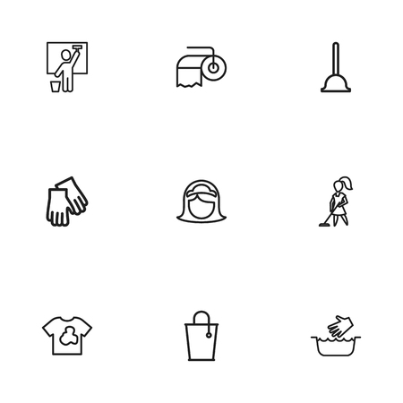 Set Of 9 Editable Cleanup Icons. Includes Symbols Such As Hand Wash, Tidy, Bucket. Can Be Used For Web, Mobile, UI And Infographic Design.