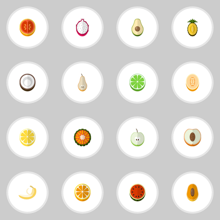 Set Of 16 Editable Berry Icons. Includes Symbols Such As Melon, Jonagold, Juicy And More. Can Be Used For Web, Mobile, UI And Infographic Design.