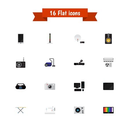 palmtop: Set Of 16 Editable Technology Icons. Includes Symbols Such As Cassette Player, Palmtop, Ventilation And More. Can Be Used For Web, Mobile, UI And Infographic Design. Illustration