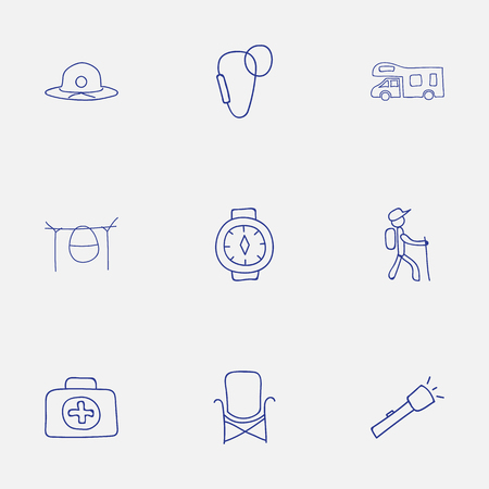karabiner: Set Of 9 Editable Travel Icons. Includes Symbols Such As Flashlight, Wrist Clock, Hiker And More. Can Be Used For Web, Mobile, UI And Infographic Design. Illustration