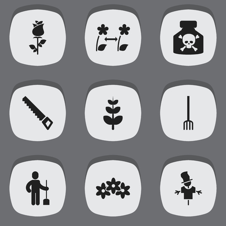 plant stand: Set Of 9 Editable Planting Icons. Includes Symbols Such As Floral, Digger Human, Breeding And More. Can Be Used For Web, Mobile, UI And Infographic Design. Illustration