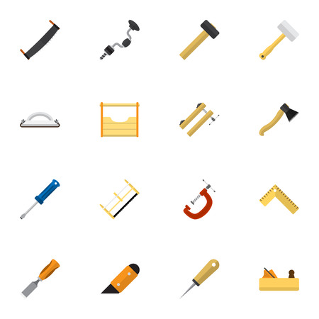 garage on house: Set Of 16 Editable Instrument Icons. Includes Symbols Such As Handsaw, Boer, Axe. Can Be Used For Web, Mobile, UI And Infographic Design.