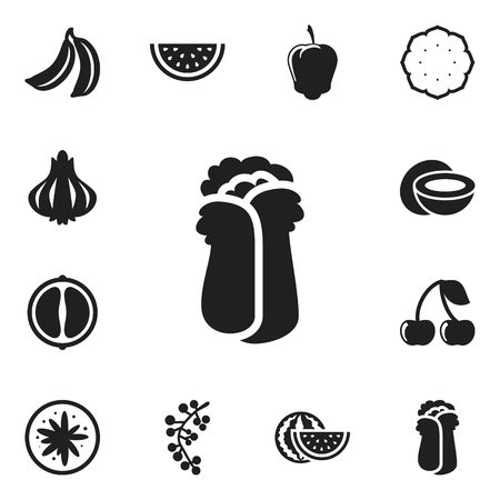 calorie: Set Of 12 Editable Cookware Icons. Includes Symbols Such As Orange Slice, Exotic Dessert, Sweet Pepper And More. Can Be Used For Web, Mobile, UI And Infographic Design.