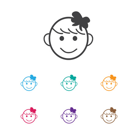 Vector Illustration Of Infant Symbol On Happy Girl Icon. Premium Quality Isolated Cheerful Child  Element In Trendy Flat Style. Ilustração