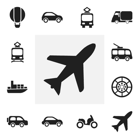 Set Of 12 Editable Transportation Icons. Includes Symbols Such As Aircraft, Ship, Car Vehicle And More. Can Be Used For Web, Mobile, UI And Infographic Design.