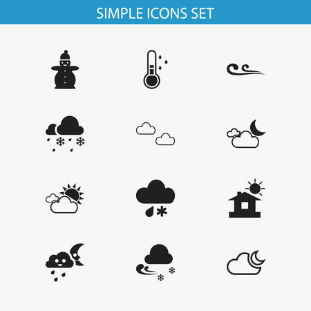 Set Of 12 Editable Air Icons. Includes Symbols Such As Frigid, Frostiness, Breeze And More. Can Be Used For Web, Mobile, UI And Infographic Design. Ilustração
