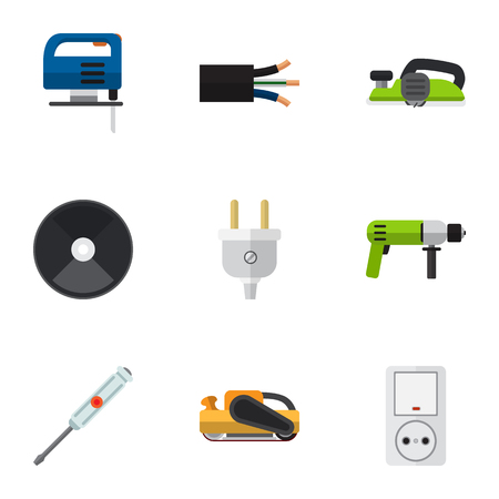 Set Of 9 Editable Instruments Icons. Includes Symbols Such As Wire, Jack, Borer And More. Can Be Used For Web, Mobile, UI And Infographic Design.