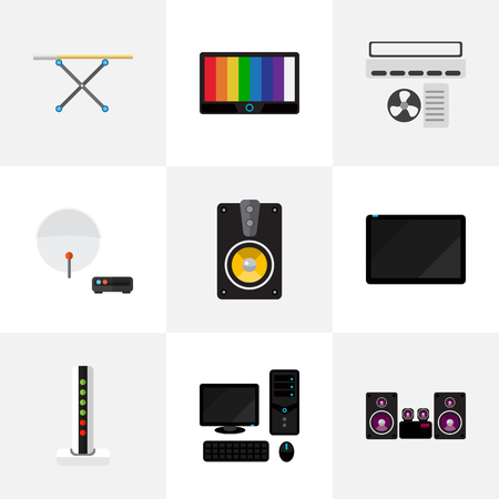 hdtv: Set Of 9 Editable Technology Icons. Includes Symbols Such As Antenna, Palmtop, Modem And More. Can Be Used For Web, Mobile, UI And Infographic Design.