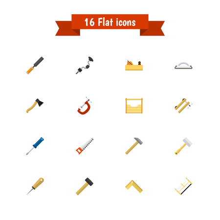 rasp: Set Of 16 Editable Instrument Icons. Includes Symbols Such As Rasp, Nag, Turn-Screw And More. Can Be Used For Web, Mobile, UI And Infographic Design.