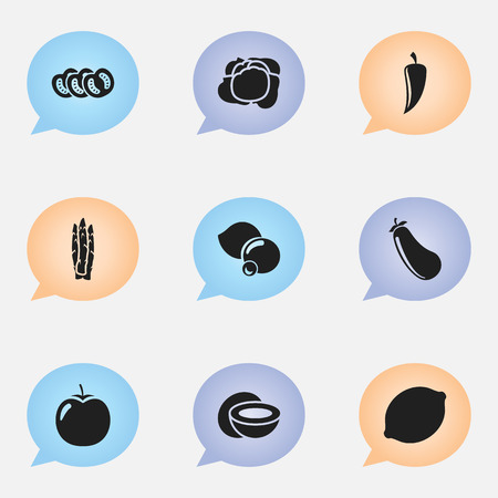 Set Of 9 Editable Kitchenware Icons. Includes Symbols Such As Cocos, Vegetable, Bilberry And More. Can Be Used For Web, Mobile, UI And Infographic Design.