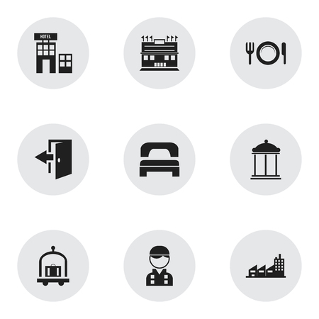 plaza: Set Of 9 Editable Plaza Icons. Includes Symbols Such As Dishes, Outlet, Residence And More. Can Be Used For Web, Mobile, UI And Infographic Design.