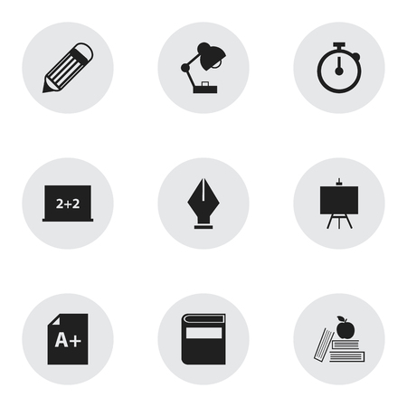 back in an hour: Set Of 9 Editable Education Icons. Includes Symbols Such As Eraser, Timer, Page And More. Can Be Used For Web, Mobile, UI And Infographic Design. Illustration
