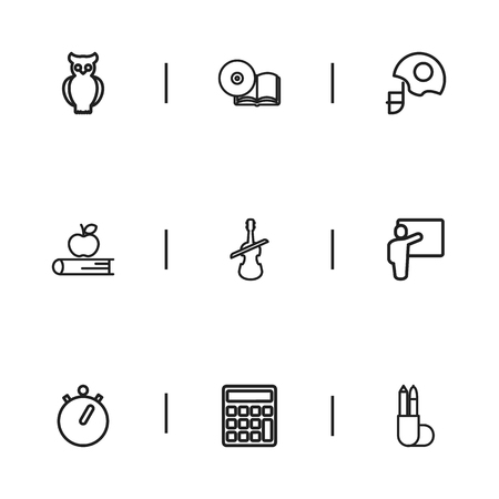 Set Of 9 Editable Education Icons. Includes Symbols Such As Calculate, Helm, Stopwatch And More. Can Be Used For Web, Mobile, UI And Infographic Design.