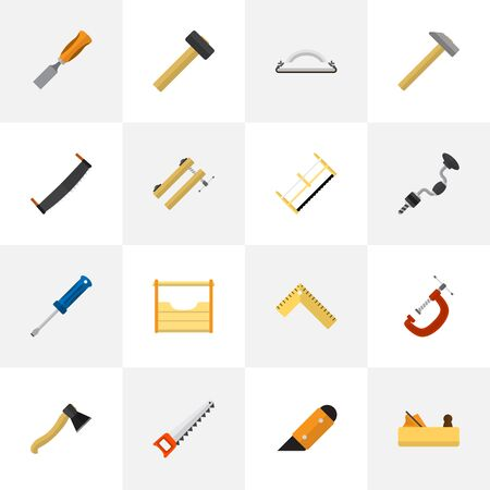 Set Of 16 Editable Equipment Icons. Includes Symbols Such As Clinch, Clamp, Nag And More. Can Be Used For Web, Mobile, UI And Infographic Design.