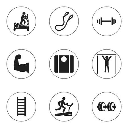 Set Of 9 Editable Lifestyle Icons. Includes Symbols Such As Stairway, Crossbar, Street Workout And More. Can Be Used For Web, Mobile, UI And Infographic Design.