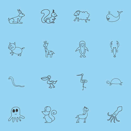 cachalot: Set Of 16 Editable Zoology Icons. Includes Symbols Such As Polar Bird, Rat, Cachalot And More. Can Be Used For Web, Mobile, UI And Infographic Design. Illustration