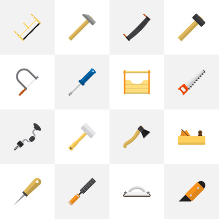 Set Of 16 Editable Apparatus Icons. Includes Symbols Such As Hammer, Hacksaw, Turn-Screw And More. Can Be Used For Web, Mobile, UI And Infographic Design. Illustration