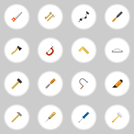 awl: Set Of 16 Editable Apparatus Icons. Includes Symbols Such As Rasp, Clinch, Bodkin And More. Can Be Used For Web, Mobile, UI And Infographic Design.