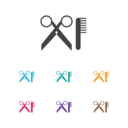 Vector Illustration Of Hairdresser Symbol On Scissors And Comb Icon. Premium Quality Isolated Barber Tools Element In Trendy Flat Style.
