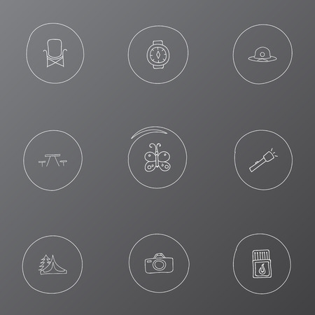 capturing: Set Of 9 Editable Travel Icons. Includes Symbols Such As Wrist Clock, Camp House, Flashlight And More. Can Be Used For Web, Mobile, UI And Infographic Design.