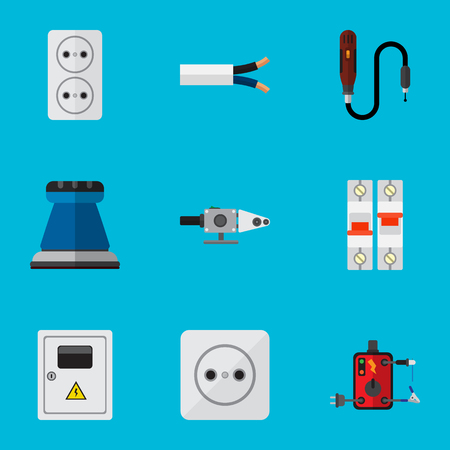 Set Of 9 Editable Electric Icons. Includes Symbols Such As Blowpipe, Cable, Socket And More. Can Be Used For Web, Mobile, UI And Infographic Design. Illustration