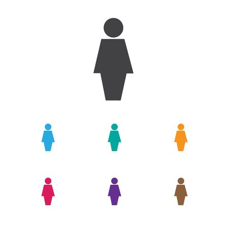 Vector Illustration Of Trade Symbol On Businesswoman Icon. Premium Quality Isolated Job Woman Element In Trendy Flat Style. Illustration