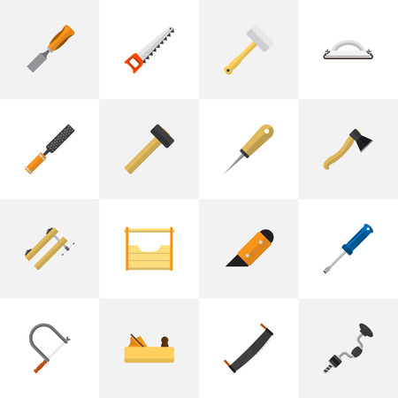 Set Of 16 Editable Instrument Icons. Includes Symbols Such As Clamp, Turn-Screw, Axe And More. Can Be Used For Web, Mobile, UI And Infographic Design. Illustration